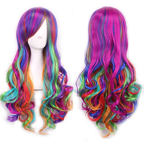 [Multicolor Women Long Curly Full Head Wigs Heat Resistant with Fringe Thick Wavy Hair Extensions Hairnet in Color Gradient Hairpiece for COSPLAY Masquerade Costume] (Fun Cheap Easy Halloween Costumes)