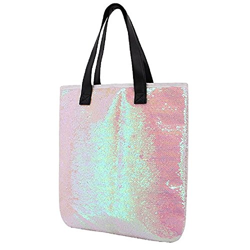 Orfila Fashion Two Tone Reversible Sequin Tote Bag PU Leather Handbag Glitter Paillette Shoulder Bag for Women, White ()