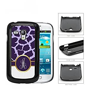 Dark and Light Purple Giraffe Animal Pattern and White Gray Vertical Stripes on Bottom with Purple and White Monogram Circle in Center Outlined in Gold Hard Plastic Snap On Cell Phone Case Samsung Galaxy S3 SIII Mini I8200