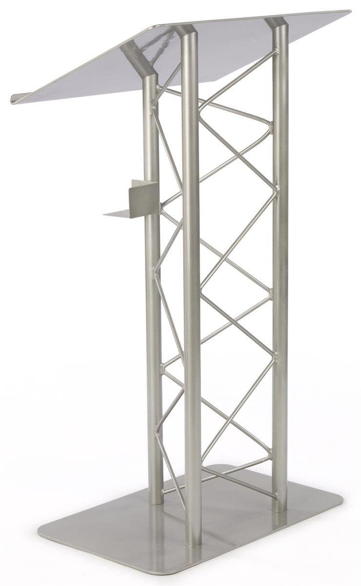 Displays2go Truss Lectern for Speaker, 27 x 48 x 18.5 Inches, Includes Cup Holder, Silver Podium Stand - Aluminum and Steel Construction (LCTTRSSLV)