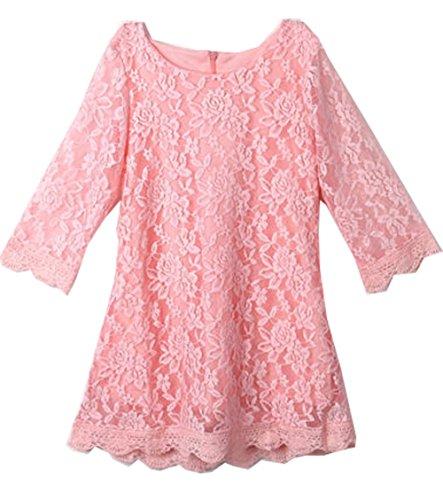 Girls Half Sleeve A-line Dresses Kids Summer Sundress One-piece Dress (Pink Seersucker Dress)