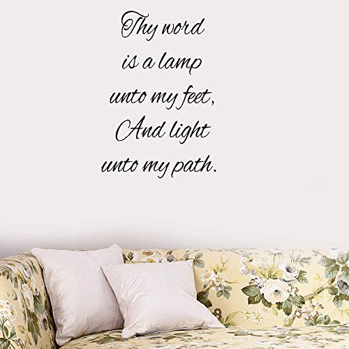 Posuty Lettering Words Wall Mural DIY Removable Sticker Decoration Thy Word is A Lamp Unto My Feet and Light Unto My Path for Living Room Bedroom (Lamp Unto My Feet Light Unto My Path)