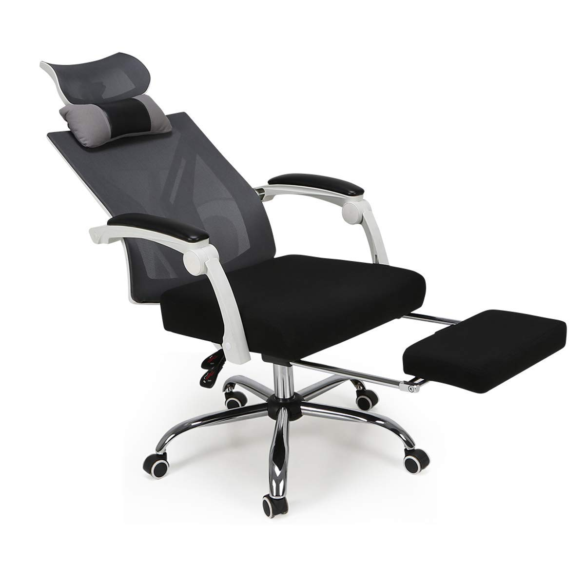 Hbada Ergonomic Office Chair - High-Back Desk Chair Racing Style with Lumbar Support - Height Adjustable Seat,Headrest- Breathable Mesh Back - Soft Foam Seat Cushion with Footrest, White by Hbada (Image #2)