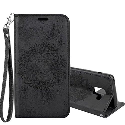 Galaxy A8 (2018) Hülle,COWX Handyhülle für Samsung Galaxy A8 (2018) Hülle Leder Flip Case Brieftasche Etui Schutzhülle für Samsung A8 (2018) Tasche Cover Datura Blumen (Schwarz)