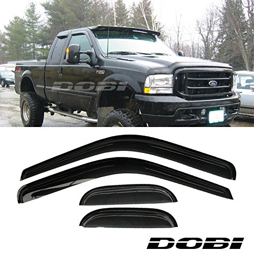 VioGi 4pcs Front Rear Smoke Sun/Rain Guard Vent Shade Window Visors For 99-16 Ford F250/F350/F450 Super Duty Super/Extended Cab