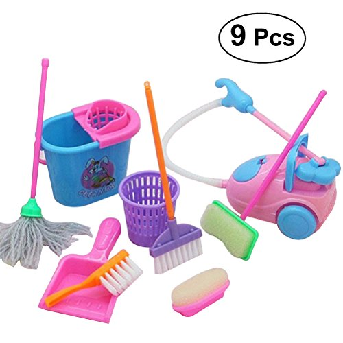 TOYMYTOY Kids Cleaning Toy Set - 9Pcs Moms Helper, Pretend Cleaning Playset, Mini Broom Mop for Children - Mop Baby And Broom