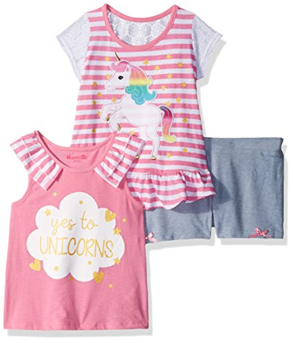- Nannette Girls' Little 3 Piece Short Outfit Set, Bubble Gum Pink, 4
