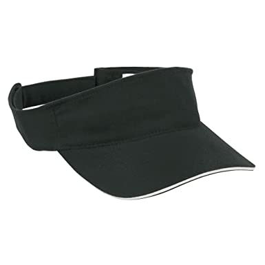 SPORTS SUN VISOR SANDWICH PEAK GOLF TENNIS CAP HAT - 12 COLOURS (MB6123)  (BLACK   WHITE)  Amazon.co.uk  Clothing 60679c55aa8