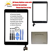 iPad Mini & Mini 2 Black New Digitizer Screen Replacement Glass Replacement Digitizer Assembly Includes Adhesive Stickers and Professional Tool Kits