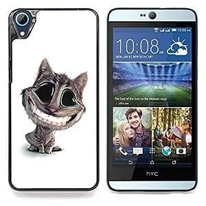 """Qstar Arte & diseño plástico duro Fundas Cover Cubre Hard Case Cover para HTC Desire 826 (Big Cat Dientes Sonrisa Blanca felina Arte de la historieta"""")"""