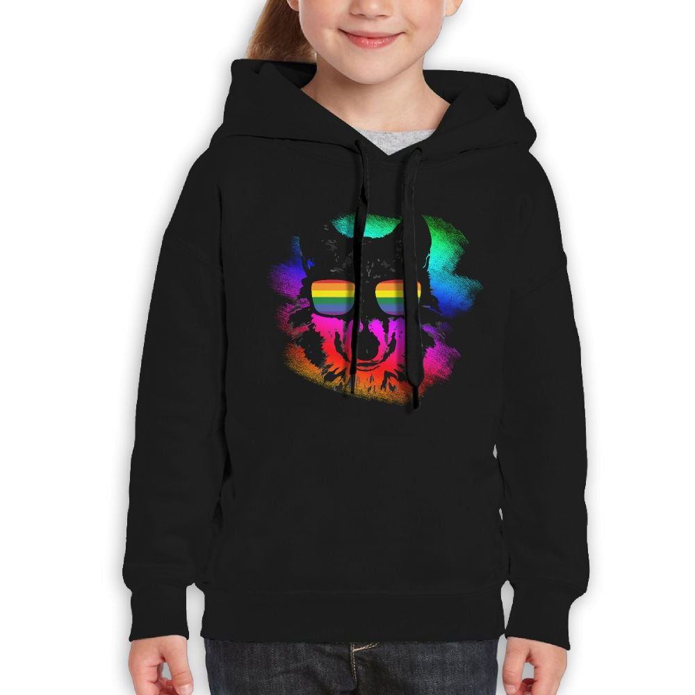 Wolf Gay Pride Sunglasses Hoodie Youth Pullover Hooded Sweatshirt XL