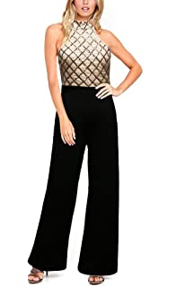 08ebe49b63a8 Remelon Women s Sleeveless Halter Sequin Long Loose Pants Club Cocktail Jumpsuit  Romper