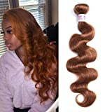 Aigemei Peruvian Virgin Human Hair Light Auburn Hair Bundles 1 Bundles Body Wave Hair Weaves 8A Human Hair Weft Hair Extensions (20 Inch,Color 30)