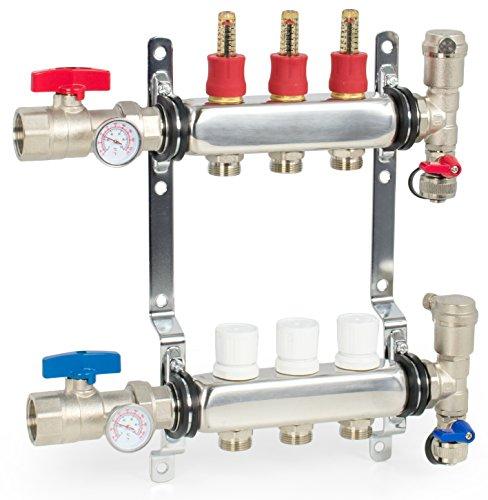 VIVO 3 Loop 1/2 inch Pex Manifold Stainless Steel Radiant Floor Heating Set | 3 Branch (PEX-M12-3)