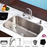 "Kraus KBU14-KPF2110-SD20 31 1/2"" Undermount Single Bowl Stainless Steel Kitchen Sink with Kitchen Faucet and Soap Dispenser"