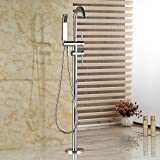 Rozinsanitary Dual Handles Chrome Bathroom Tub Faucet Free Standing Shower Mixer W/ Hand Unit
