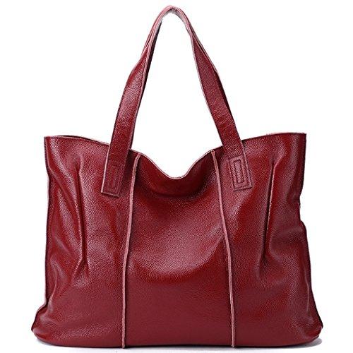 2 Gran a Sucastle de trabajo y Mujer Ideal hombro Capacidad para Genuino bolsos Hecho 2 RFID viaje Genuina Mano Bloqueo Cuero rYRqp7Ywx