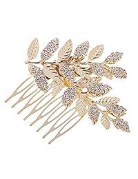 MonkeyJack Sparkling Rhinestone Crystal Leaves Wedding Bridal Hair Pin Comb Gold