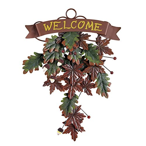 Metal Maple Leaves Weclome Country Autumn Hanging Swag Fall Floral Decor
