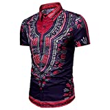 kaifongfu Top,Clearance Mens African Hipster Hip Hop Dashiki Graphic Top Short Sleeved Shirts Blouse(Purple,L)