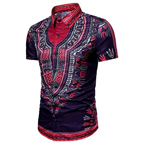 kaifongfu Top,Clearance Mens African Hipster Hip Hop Dashiki Graphic Top Short Sleeved Shirts Blouse(Purple,L) by kaifongfu-mens clothes