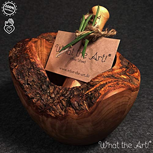 What the Art!® Olive Wood «Le Mortier» Gr. M | Olivenholz Mörser inkl. Stößel + Geschenk | ca. Ø 12 x ↑ 7-9 cm | Gewürzmörser – Kräutermörser – Küchenmörser – Stampfer – Mortar