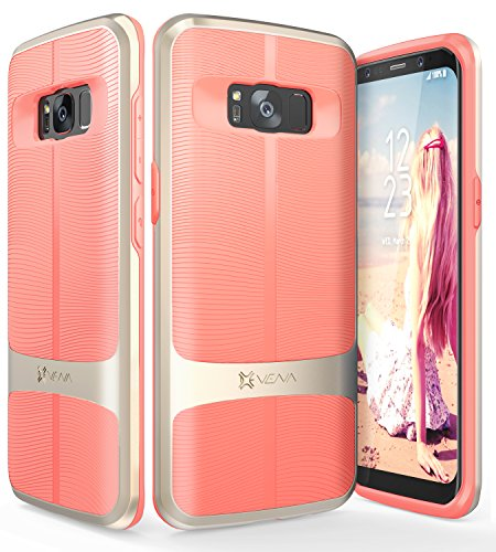 Unique Pink Coral (Galaxy S8 Plus Case, Vena [vAllure] Wave Texture [Bumper Frame][CornerGuard ShockProof | Strong Grip] Slim Hybrid Cover for Samsung Galaxy S8 Plus (Gold/Coral Pink))