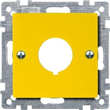 MERTEN Zentralplatte Not-Ausschalter gelb Einlochbefestigung 393803