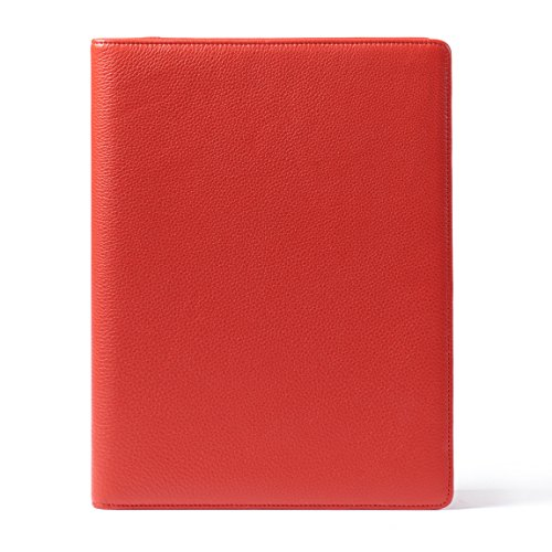 Leatherology Folder with Pockets & Pen Holder - Full Grain Leather Leather - Scarlet (Pebbled Leather Padfolio)