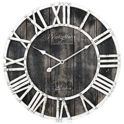 Westzytturm Wood Clock 18 inches Large Wooden Wall Clock Rustic Decorative Farmhouse Battery Operated Non Ticking Silent Sweep Antique Big Clocks for Living Room Bedrooms Home Kitchen Office(Black)