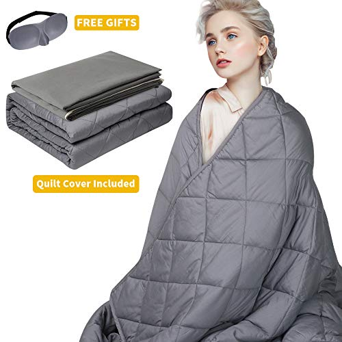 Cheap SUNBA YOUTH Adult Weighted Blanket Heavy Blanket +Removable Cover+Sleep Eye Mask 100% Cotton Material with Glass Beads for Adults and Kids (Grey 15lbs 48