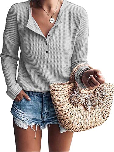 Womens Henley Shirts V Neck Long Sleeve Button Down Waffle Knit Tunic Tops Tee (Grey, Large)