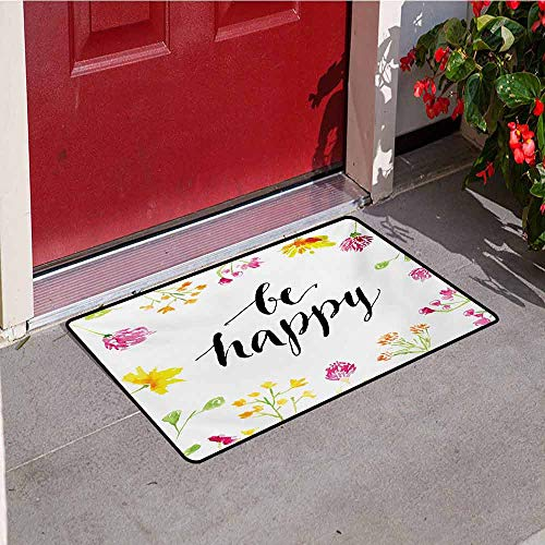 Jinguizi Quote Welcome Door mat Positive Vibes Spring Revival Floral Be Happy Phrase Framed by Colorful Wild Flowers Door mat is odorless and Durable W19.7 x L31.5 Inch - Allure Framed