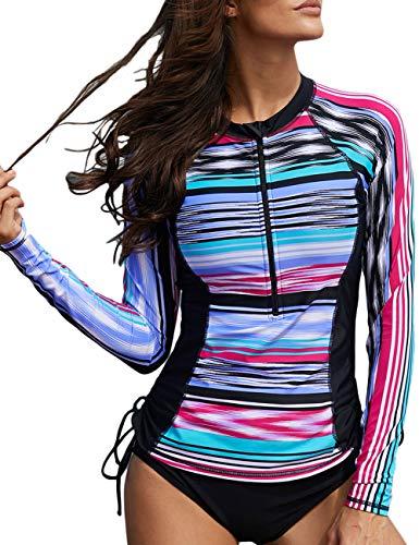 Retro Zip - Astylish Women Fuzzy Stripe Printed Zip Front Side Ties Slim Fit Rash Guard Swim Shirt Long Raglan Sleeve Athletic UV Sun Protection Blouson Rashguard Top Swimwear Swimsuit Small 4 6 Multicolored