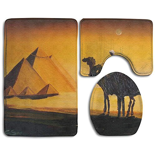 Non Slip Absorbent Water Bathroom Rug Toilet Sets, Egypt Pyramids Camel Fashion Bathroom Rug Mats Set 3 Piece Anti-Skid Pads Bath Mat + Contour + Toilet Lid Cover