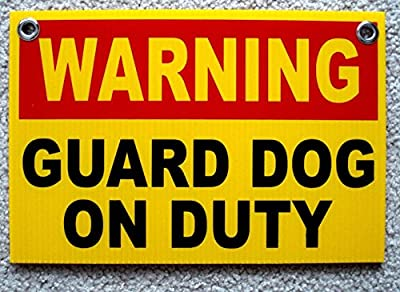 """1 Pc Momentous Unique Warning Guard Dog on Duty Signs Plastic Message Video Hr Surveillance Reflective Decals Business Post Under Cameras Protected Security Sign Anti-Burglar Size 8""""x12"""" w/ Grommets"""