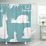 TOMPOP Shower Curtain America Cute Cartoon Lama Alpaca Unicorn Horn Polka Dot Waterproof Polyester Fabric 60 x 72 Inches Set with Hooks