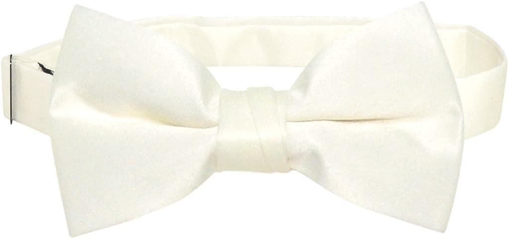 Cream Solid Color Pre-Tied Bow Tie