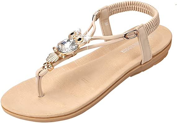 Womens Flat Sandals Open Toe Ankle Strap Sandals Bohemian Elastic Strappy Thong Summer Beach Sandals