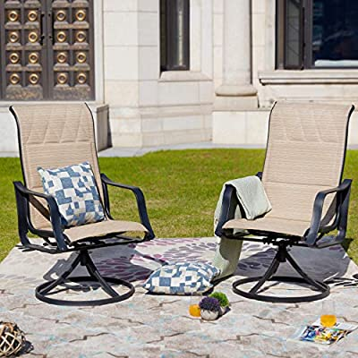 LOKATSE HOME Outdoor Patio Swivel Chair Set Sling(Set of 2), 2, Beige - High quality chair - durable powder-coated steel frame, rust and weather resistant. Breathable text Ilene sling fabric, well ventilated and quick drying. Holds up to 250 lbs. Weight Capacity for long-lasting use. 360-Degree swivel - features a round, swivel base and a comfortable specially designed seat, 360-degree spin and, ergonomic back support, curved arms and well ventilated seat to give you better user experience. Practicability - modern design Chair set fits perfectly with any indoor or outdoor décor. Ideal for courtyard, patio, garden, porch, balcony, around swimming pools. You can configure the pieces in several ways to accommodate your space and enjoy a leisurely time. - patio-furniture, patio-chairs, patio - 519cEjQmtPL. SS400  -