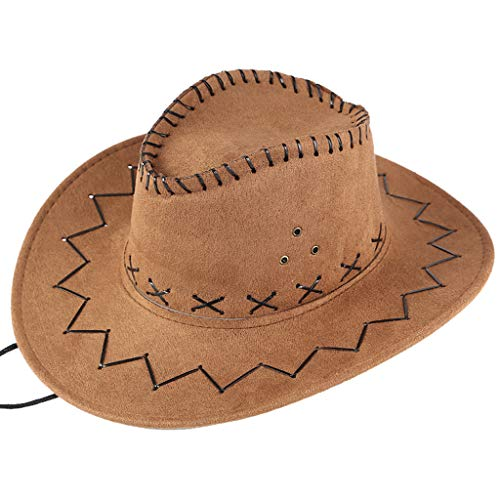 Sunskyi Men West Cowboy Hat Summer Outdoor Travel Mongolian Hat Grassland Visor Sunshade Cap