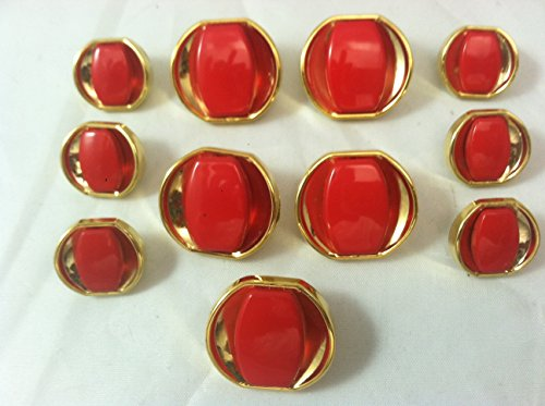 Polished Gold /Red Stone Buttons Sets ~ Plated 11pc. - Designer Metal Shank Buttons
