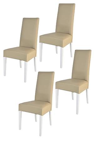 Tommychairs sillas de Elegancia y Design - Set de 4 Sillas Luisa para Cocina, Comedor, Bar y Restaurante con Estructura en Madera de Haya Pintada en ...