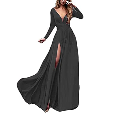 WHZZ Womens Sexy Prom Dresses Side Slit With Sleeves 2018 Long Evening Gowns