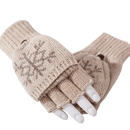 Womens Snowflake Convertible Gloves - LerBen Winter Wool Crochet Convertible Gloves Warm Snowflake Mittens With Mitten Cover (khaki)