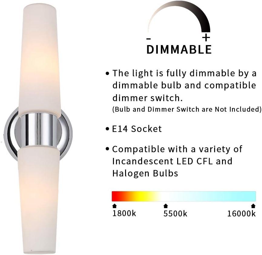 BETLING Badlampe, IP44 LED Wandleuchte Bad, Badezimmer-Leuchte, Spiegelleuchte Schminklicht Wandlampe, 1 flamming, Chrome, E14 Fassung, Länge: 19 cm 0408-36cm-2 Flamming