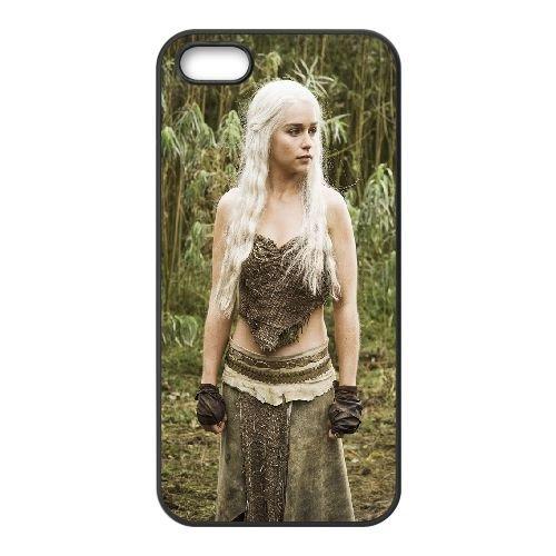 Daenerys Targaryen Game Of Thrones2 coque iPhone 5 5S cellulaire cas coque de téléphone cas téléphone cellulaire noir couvercle EOKXLLNCD23020