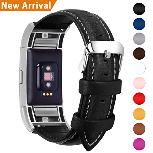 Fullmosa Compatible Charge 2 Band/Strap/ Charge 2 Accessories, Genuine Leather Band Compatible Charge 2, Black