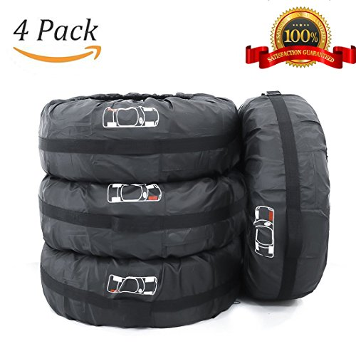 4 Pcs Tire Tote Covers FLR 80cm/31in Diameter Adjustable Foldable Seasonal Spare Tire Cover Dust Cover Wheel Protection Covers for Car Off Road Truck SUV Black with Red (Off Road Logos)