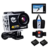 Campark 4K WiFi Ultra HD Waterproof Sports Action Camera 30M Underwater Camera with RF Wrist Remote Control Time Lapse Burst Photo Apps for iOS & Android and 2pcs Batteries included(6G lens)